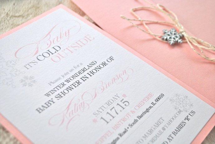 Winter Wonderland Invitation, Pink, Silver, Snowflake, Birthday, Wedding, Baby