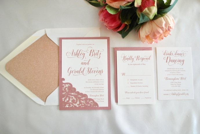 Rose Gold, Dusty Rose Lace Laser Cut Wedding Invitation, Mauve, Blush wedding