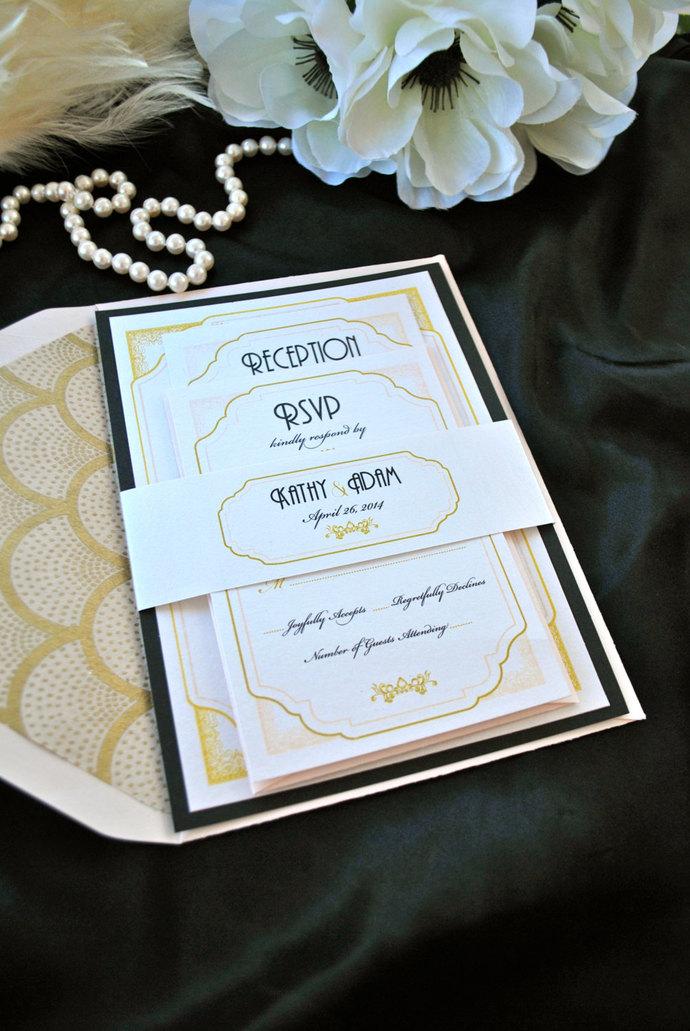 Great Gatsby, blush, gold wedding Invitation- Art Deco, Marsala, Silver, Black