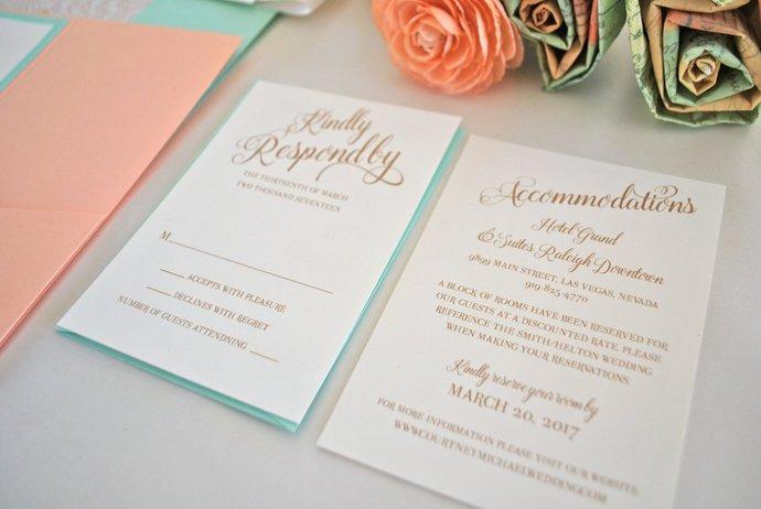 Coral and Mint Pocket Wedding Invitation, Golf Coral, Coral Wedding Invite,