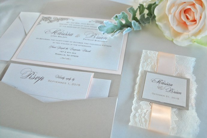 Lace, Champagne and Blush Pocket Wedding Invitation, Ivory Invite- Lace Elegance