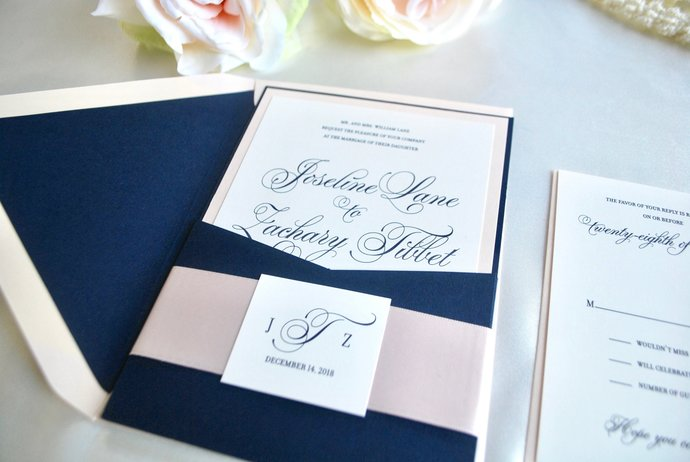 Navy Blue and Blush Pocket Wedding Invitation- Fancy Script Gold, Silver,