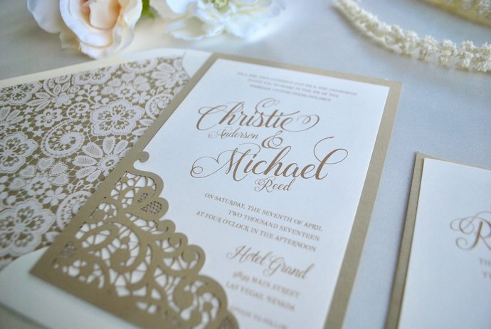 Gold, Champagne Wedding Invitation Lace Laser Cut Simply Glamorous, Silver,