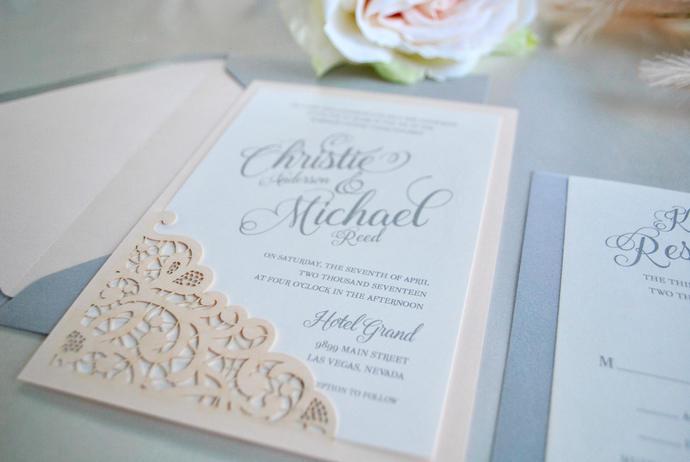 Blush, Gray Wedding Invitation- Lace Laser Cut Simply Glamorous, Silver, Grey,