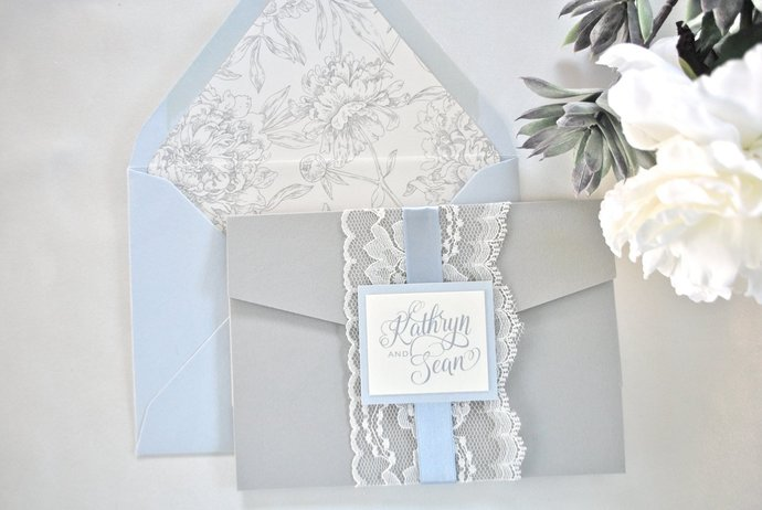 Dusty Blue, Lace, Wedding Invitation, Grey, Ivory, Pocket Invitation- Modern   -