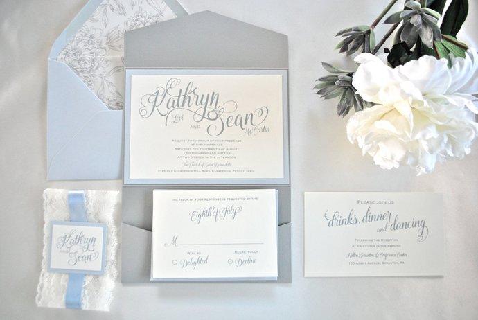 Dusty Blue, Lace, Wedding Invitation, Grey, Ivory, Pocket Invitation- Modern   -