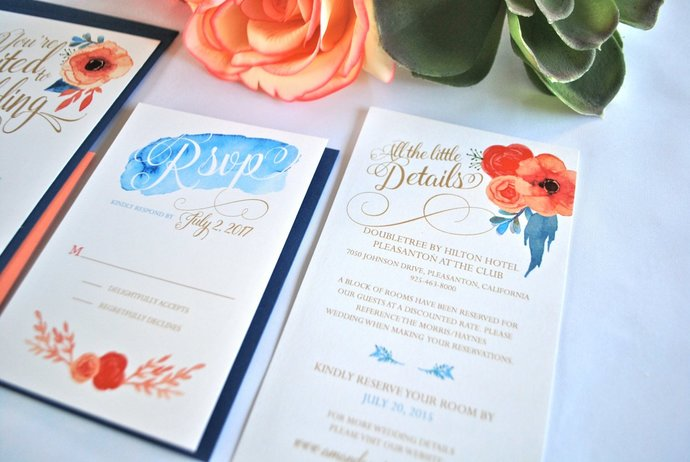 Coral and Navy Blue Watercolor Pocket Wedding Invitation, Peach, Gold Foil,