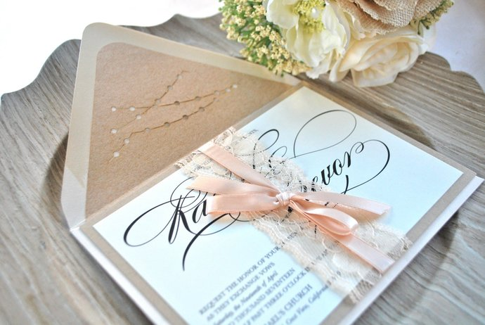 Blush Lace Wedding Invitation, Rustic, Kraft Dusty Rose Invitation, Champagne,