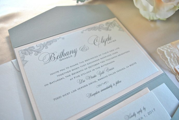 Blush Lace Pocket Wedding Invitation, Grey Blush, Gray, Lace Wedding Invitation,