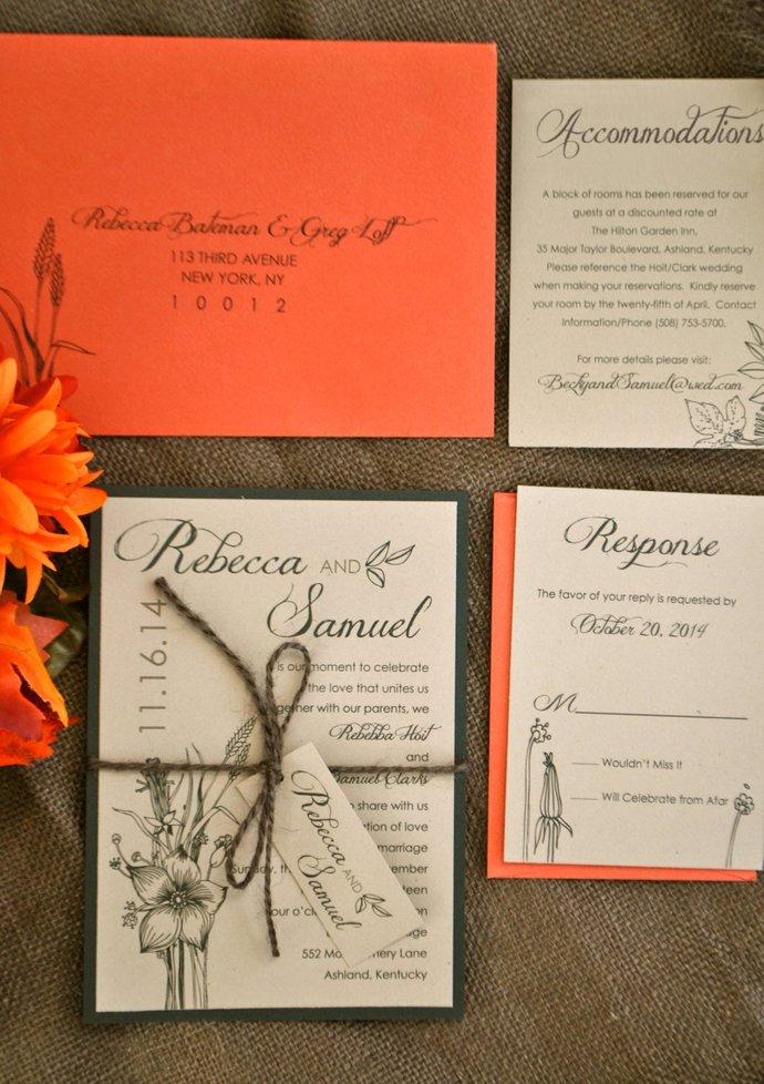 Rust Orange Kraft Rustic Wedding Invitation- Rustic Leaves and Florals,