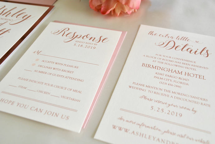 Blush and Rose Gold Foil Wedding Invitation- Floral Laser Cut Romance, Floral