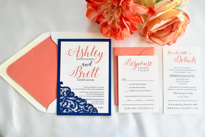 Navy Blue, Coral, Sapphire Wedding Invitation- Lace Laser Cut Romance