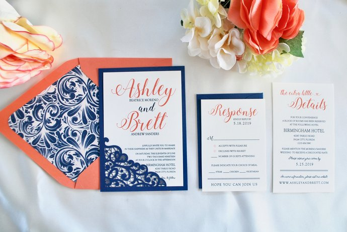 Navy Blue, Coral, Sapphire Wedding Invitation, Lace Laser Cut Romance, Lasercut,