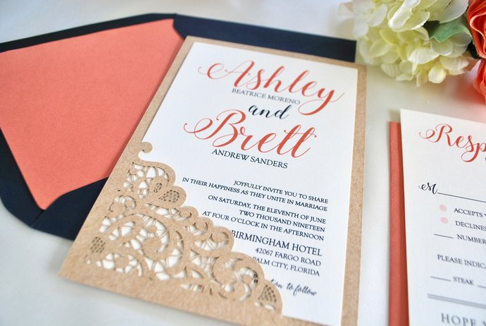 Navy Blue, Coral, Kraft Wedding Invitation- Lace Laser Cut Romance