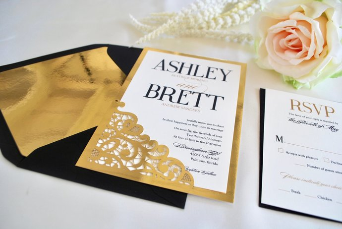 Gold Foil and Black Wedding Invitation- Lace Laser Cut Glam -Navy, Glitter,