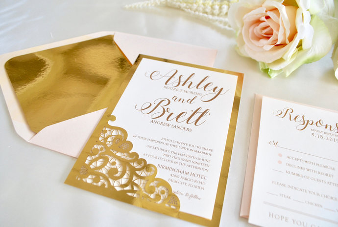 Blush, Gold Foil Wedding Invitation, Lace Laser Cut Wedding Invitation, Romance