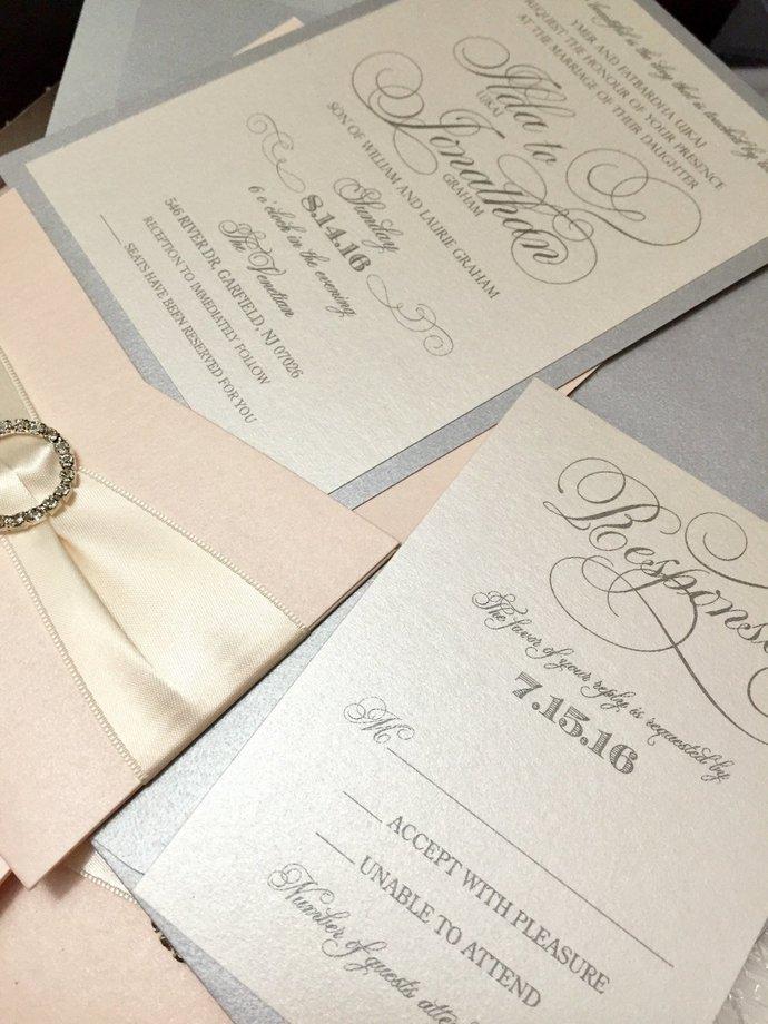 Blush and Silver Script Elegance Wedding Invitation *not sample listing