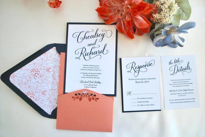 Coral and Navy Blue Floral Laser Cut Pocket Wedding Invitation-Gold, Blush,