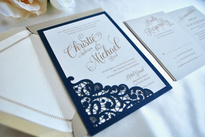 Gold, Navy Blue Wedding Invitation Lace Laser Cut Simply Glamorous, Silver,