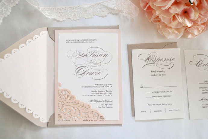 Blush and Champagne Wedding Invitation -Lace Laser Cut Dreamy -Rose Gold, Navy