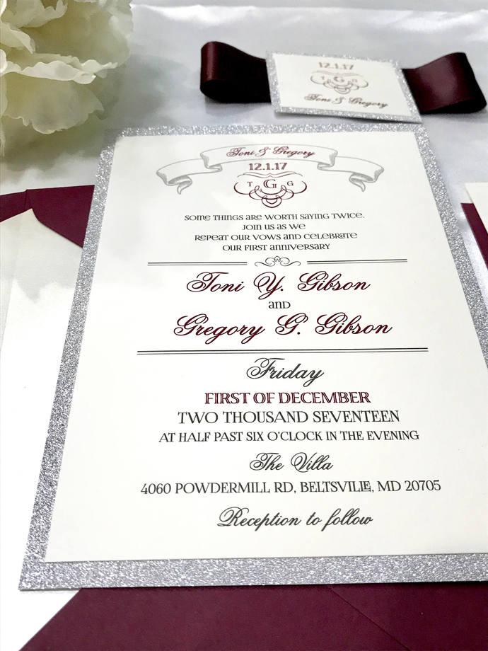 Silver Glitter, Burgundy Art Deco wedding Invitation  Color/Wording/Material