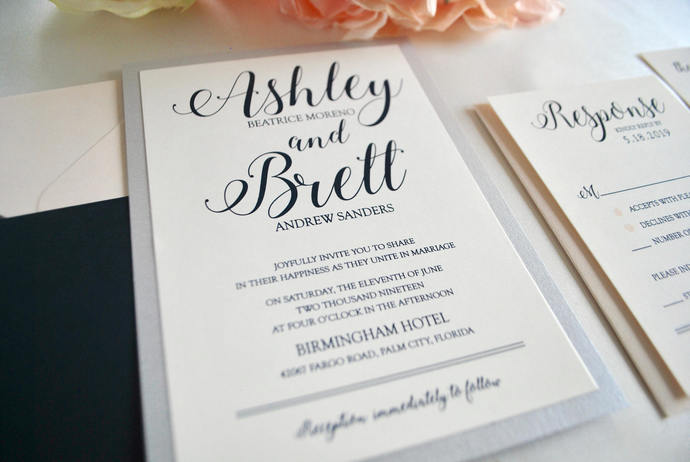 Navy, Silver Pocket Wedding Invitation-Romance, Sapphire, Midnight Blue, Gold  -