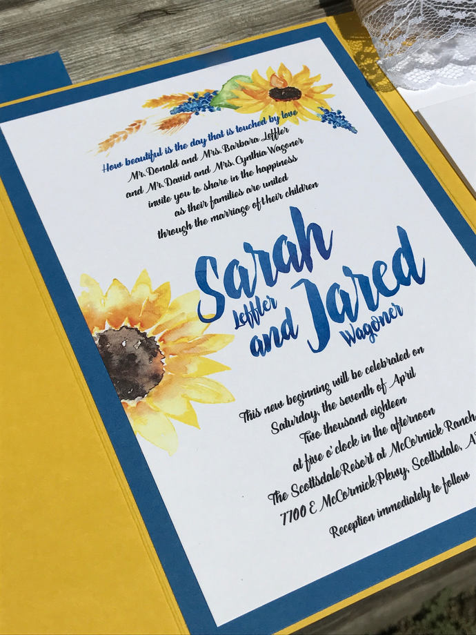 Sunflower Wedding Invitation, Lace, burlap Pocket Wedding Invitation, Rustic