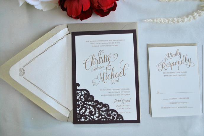 Burgundy, Gold Wedding Invitation Lace Laser Cut Simply Glamorous, Silver, Grey,