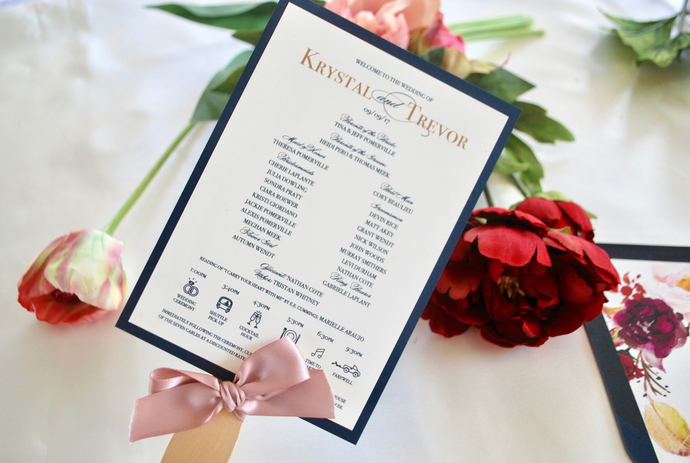 Navy Blue, Gold, Burgundy, Blush Wedding Fan Program -Chic Collection, Dusty