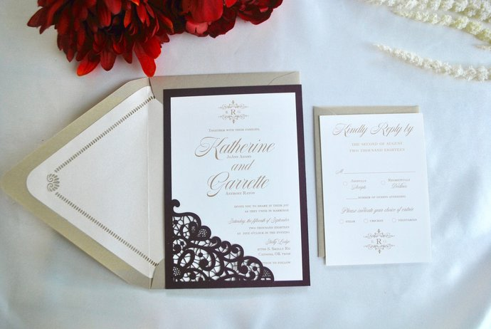 Burgundy Wedding Invitation Lace Laser Cut , Silver, Gold, Navy, blush, Marsala