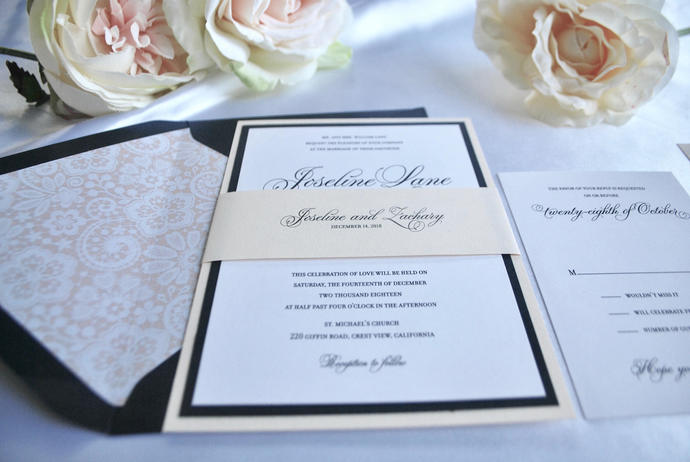 Blush, Navy Blue Wedding Invitation- White Simplicity Gray, Silver, Gold, Black