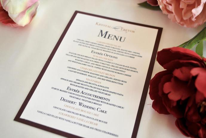 Navy Blue, Gold, Burgundy, Blush Wedding Reception Menu -Chic Collection, Rose,