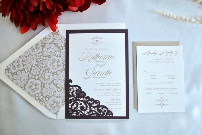 Burgundy, Gold Lace Laser Cut Wedding Invitation, Silver, Navy Blue, blush,