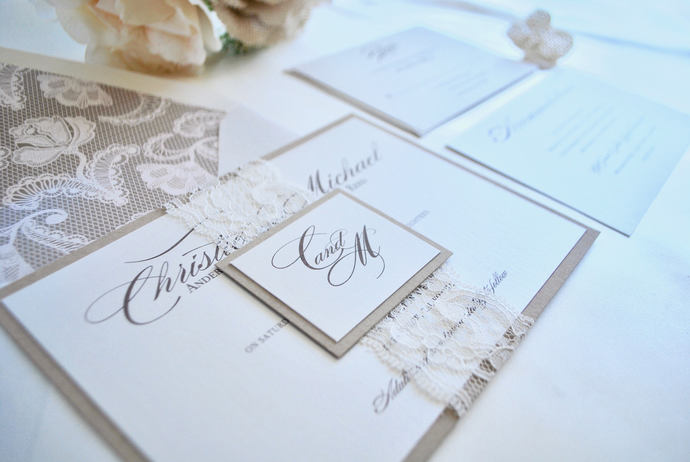 Ivory Lace, Kraft Wedding Invitation, Rustic Elegance- Champagne, Blush, Gold -