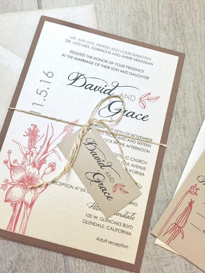 Champagne, Rust Orange, Rustic Wedding Invitation- Leaves and Florals, Kraft