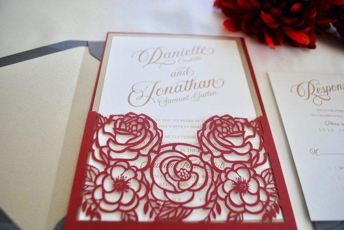 Marsala Laser Cut Pocket Wedding Invitation, Floral Wedding invite, Red, Gold,