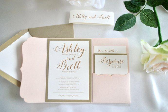 Gold, Blush Pocket Wedding Invitation, Laser Cut pocket, silver, Navy Blue,