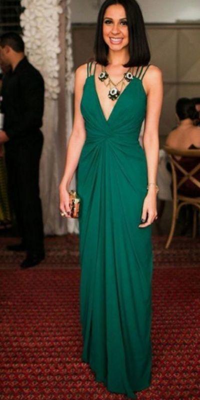 4341020e67f9 Sheath/Column ,V-neck Floor-length, Chiffon Prom Dresses with Ruffle