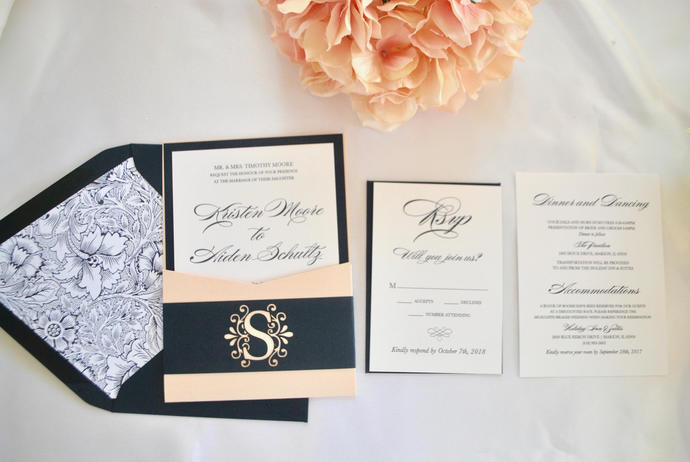 Navy Blue And Blush Pocket Wedding By Out The Box Creative On Zibbet