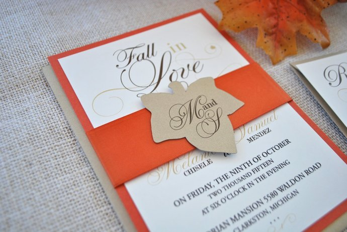 Fall in Love Wedding Invitation- Gold, Ivory, Brown, Orange