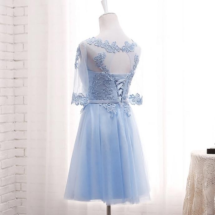 Beautiful Blue Tulle Short Knee Length Bridesmaid Dresses, Short Prom Dresses