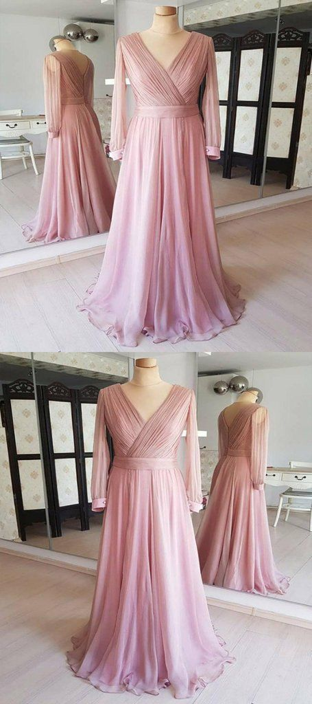 A-Line V-Neck Long Sleeves Cheap Bridesmaid Dresses