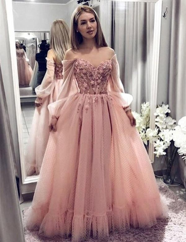 Pink Long Prom Dresses Off The Shoulder Evening Dresses Appliques