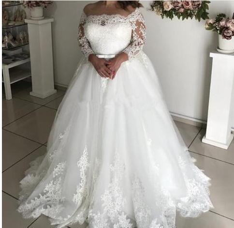 Plus Size Wedding Dresses 3/4 Sleeve Appliques Beads Sash Hollow Garden  Bridal Gown vestido de noiva