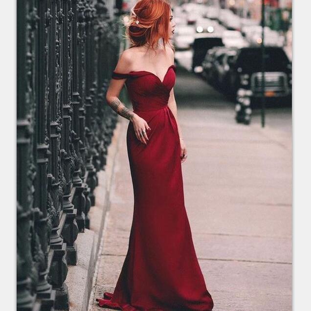 Charming Mermaid Off the Shoulder Burgundy Long Prom Dresses, Elegant Formal