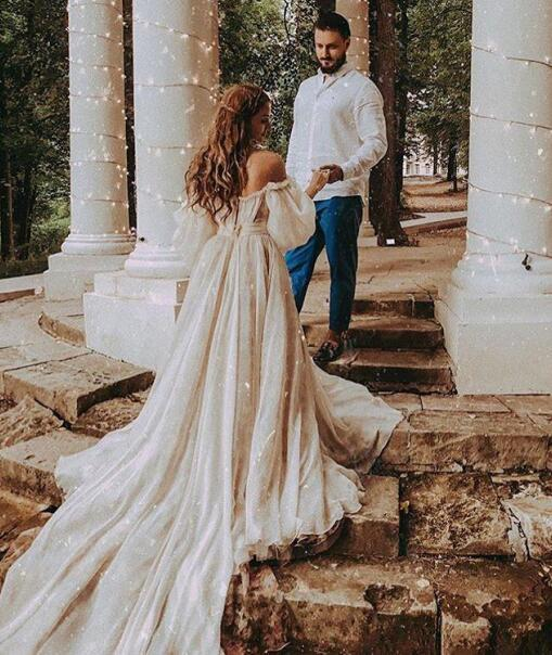 Bohemian Princess Country Wedding Dresses Latest 2019 Sexy Off Shoulder Short Sleeve Puffy Bridal Gowns Rustic Wood Bride Dress Plus Size