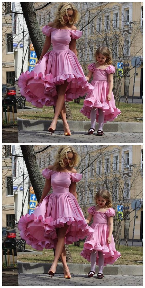 1b9e927d3 Mother Daughter Matching Dresses, Cheap Flower Girl Dress, Pink Prom Dress,