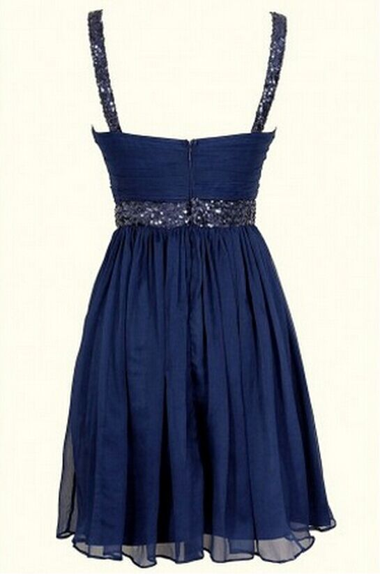 Sexy Spaghetti Straps Navy Party Gown, Short Homecoming Dress, Sequins Prom