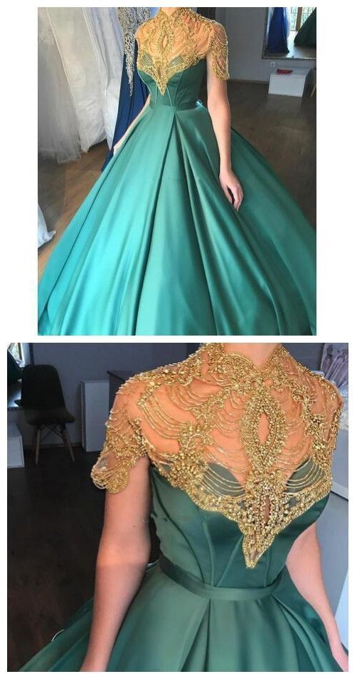 Hunter Green Prom Dresses Short Sleeve High Neck By Rosyprom On Zibbet