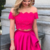 two piece hot pink long prom dress, off the shoulder hot pink long prom dress